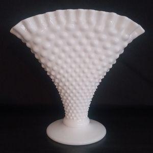 Milk Glass Hobnail Fan Vase - White Ribbon Edge